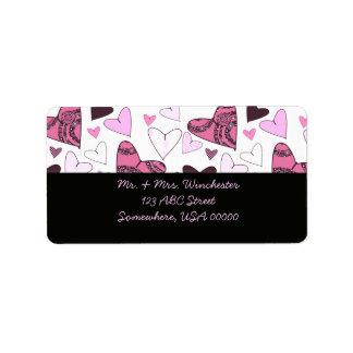 Pink Stylized Hearts Label