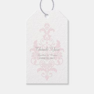 Pink Subtle Damask Wedding Gift Tags