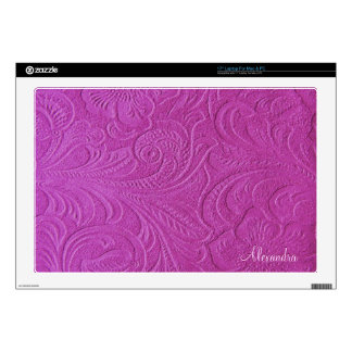 Pink Suede Leather Look Embossed Flowers Laptop Decal