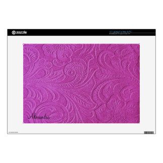 Pink Suede Leather Look Embossed Flowers Skin For Laptop