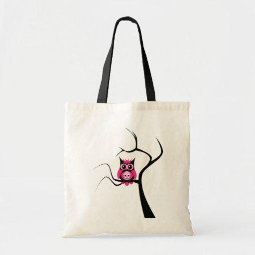 Pink Sugar Skull Owl in Tree Bag