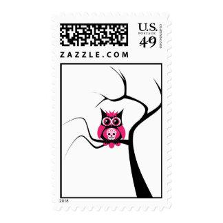 Pink Sugar Skull Owl in Tree Postage