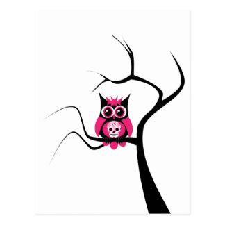 Pink Sugar Skull Owl in Tree Postcard