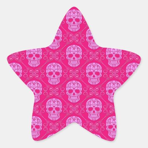 Pink Sugar Skull Pattern Stickers