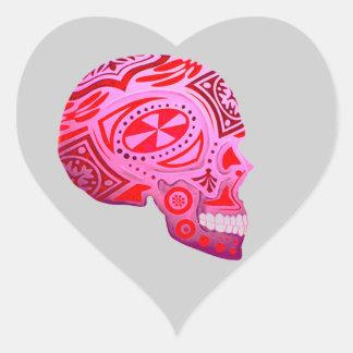 Pink Sugar Skull Skeleton - Tattoo Art Heart Sticker