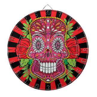 Pink Sugar Skull With Red Roses Green Leaves Dartboard With Darts