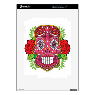 Pink Sugar Skull With Red Roses Green Leaves Decal For iPad 2
