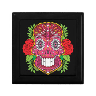 Pink Sugar Skull With Red Roses Green Leaves Gift Box