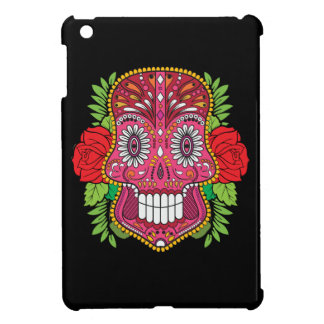 Pink Sugar Skull With Red Roses Green Leaves iPad Mini Covers