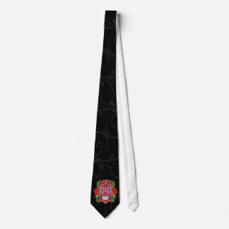 Pink Sugar Skull With Red Roses Green Leaves Neck Tie