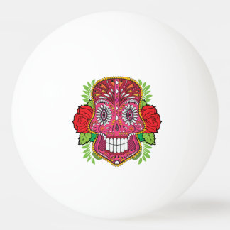 Pink Sugar Skull With Red Roses Green Leaves Ping Pong Ball