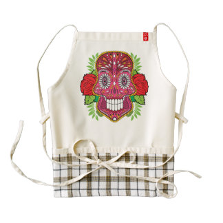 Pink Sugar Skull With Red Roses Green Leaves Zazzle HEART Apron