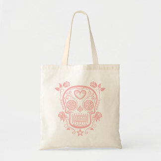 Pink Sugar Skull with Roses Canvas Bags