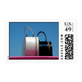 pink suitcase stamp