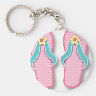 Pink Summer FlipFlops Basic Round Button Keychain