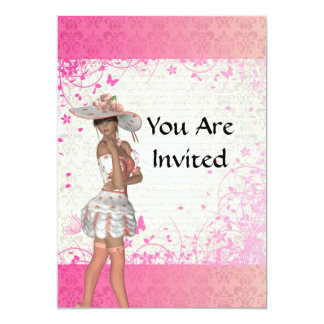 Pink summer girl 5x7 paper invitation card
