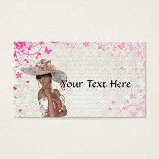 Pink summer girl business card