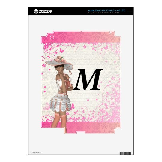 Pink summer girl decals for iPad 3