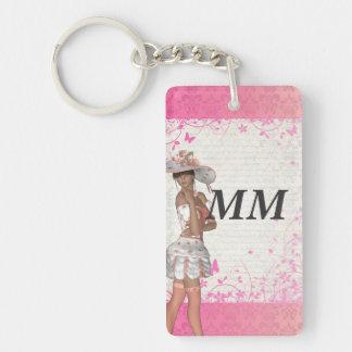 Pink summer girl keychain