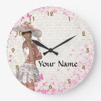 Pink summer girl large clock