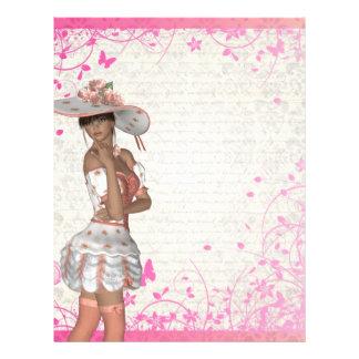 Pink summer girl letterhead