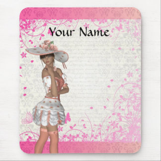 Pink summer girl mouse pad