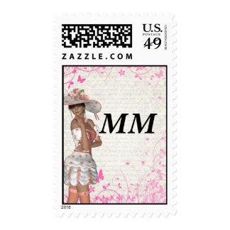 Pink summer girl postage stamps