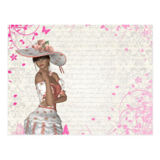 Pink summer girl post card