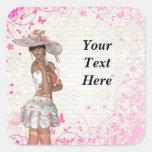 Pink summer girl square sticker