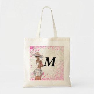 Pink summer girl tote bag