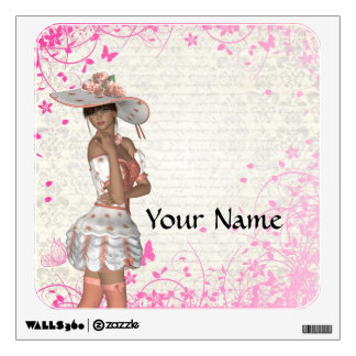 Pink summer girl wall sticker