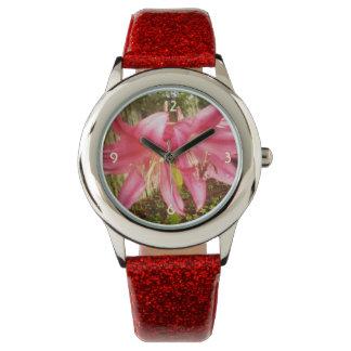 Pink Summer Lilies Floral Botanical Wrist Watches