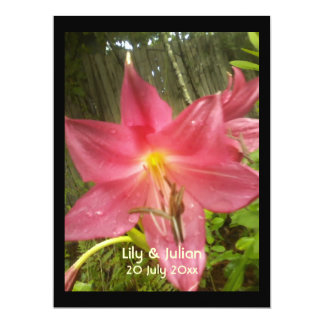 Pink Summer Lily Botanical Wedding 6.5x8.75 Paper Invitation Card