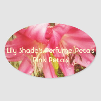 Pink Summer Lily Floral Bookplate Craft Label Oval Sticker
