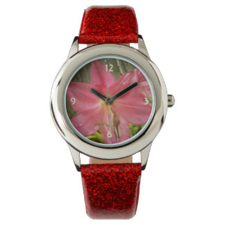Pink Summer Lily Floral Botanical Wristwatches