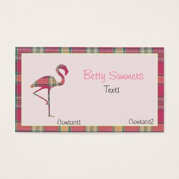 Professional Business Pink summer Plaid Flamingo Business Card