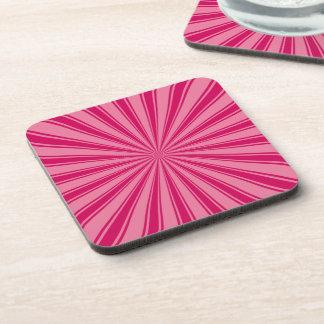 Pink Sun Rays Pattern Beverage Coaster