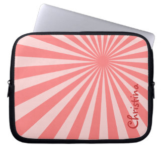 """Pink Sunburst """"Add Your Name"""" Computer Sleeves"""