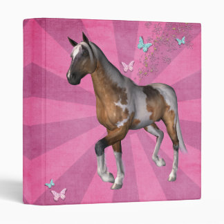 Pink sunburst horse 3 ring binder
