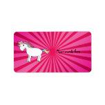 Pink sunburst rainbow unicorn custom address label