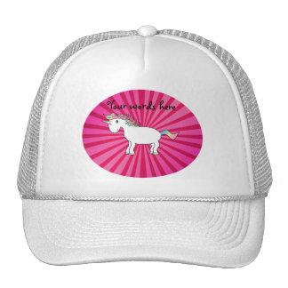Pink sunburst rainbow unicorn trucker hat