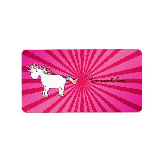 Pink sunburst rainbow unicorn label