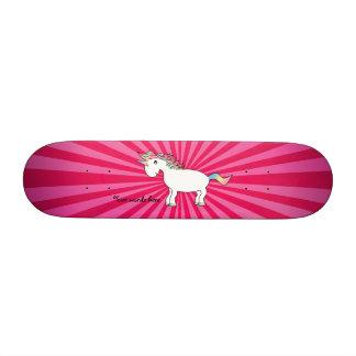 Pink sunburst rainbow unicorn skateboard deck