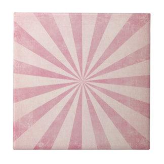 Pink Sunburst Starburst Vintage Rustic Burst Print Ceramic Tile