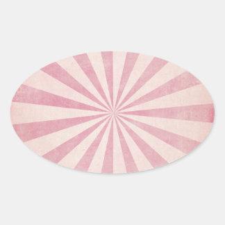 Pink Sunburst Starburst Vintage Rustic Burst Print Oval Sticker