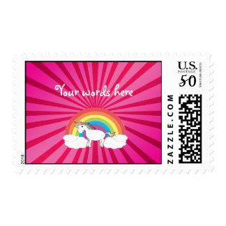 Pink sunburst unicorn stamp