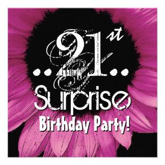 Pink Sunflower 21st Surprise Birthday Template Custom Invitation