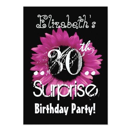 Pink Sunflower 30th Surprise Birthday Custom Name Custom