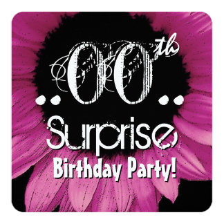 """Pink Sunflower Any Year Surprise Birthday V26 5.25"""" Square Invitation Card"""
