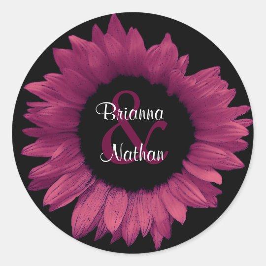 Pink Sunflower Bride & Groom Wedding Sticker